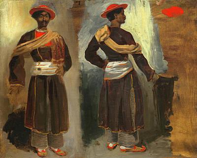 Calcutta Painting - Eugène Delacroix French, 1798 - 1863, Two Studies by Quint Lox