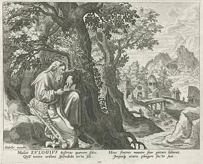 Eulogius The Hermit, Johann Sadeler I, Raphal Sadeler Art Print by Johann Sadeler (i) And Rapha?l Sadeler (i) And Maerten De Vos