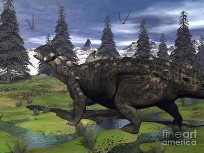 Euoplocephalus Dinosaur Walking Print by Elena Duvernay
