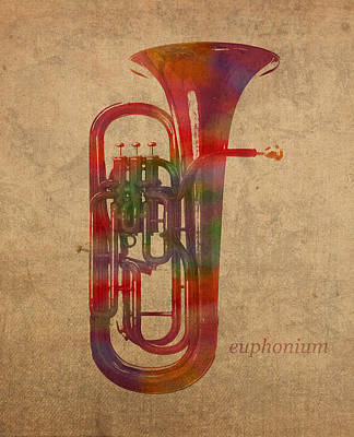 Euphonium Mixed Media - Euphonium Brass Instrument Watercolor Portrait On Worn Canvas by Design Turnpike