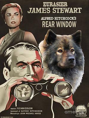Painting - Eurasier Art Canvas Print - Rear Window Movie Poster by Sandra Sij
