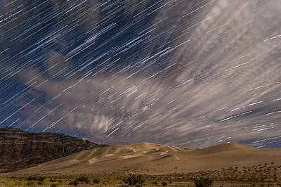 Startrails Photograph - Eureka Dunes Star Trails by Cat Connor