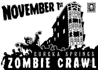 Eureka Springs Digital Art - Eureka Springs Zombie Crawl 2014 Black And White by Jeff Danos and Kiko Garcia