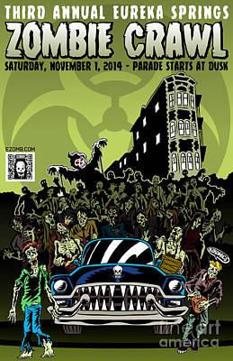 Eureka Springs Zombie Crawl 2014 Art Print by Jeff Danos and Kiko Garcia