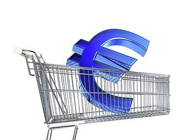 Supermarket Photograph - Euro Sign Inside A Supermarket Trolley by Leonello Calvetti