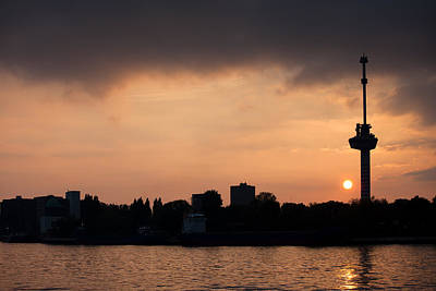 Maas Wall Art - Photograph - Euromast Tower At Sunset In Rotterdam by Artur Bogacki