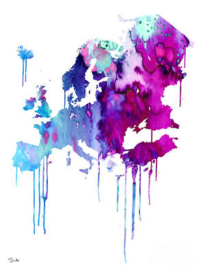 Handmade Painting - Europe 2 by Watercolor Girl