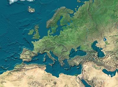 Europe And Northern Africa, Satellite Art Print by WorldSat International Inc.