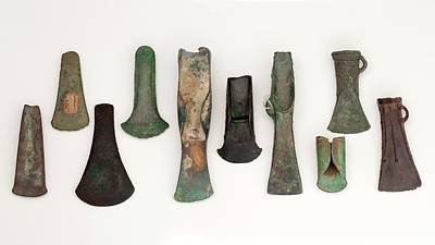 Celts Photograph - Europe Bronze Age Axes From Early To Late by Paul D Stewart