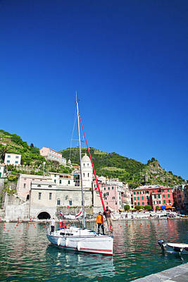Vernazza Photograph - Europe Italy Vernazza Sail Boat Landing by Terry Eggers
