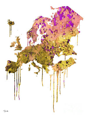 Map Painting - Europe by Watercolor Girl