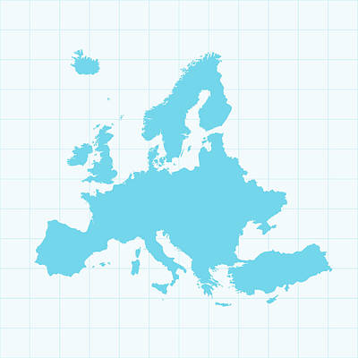Europe Map On Grid On Blue Background Art Print by Iconeer