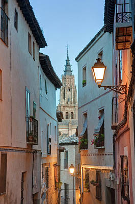 Religious Charm Photograph - Europe, Spain, Toledo, Alleyway by Rob Tilley