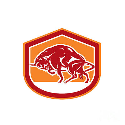 Bison Digital Art - European Bison Charging Shield Retro by Aloysius Patrimonio