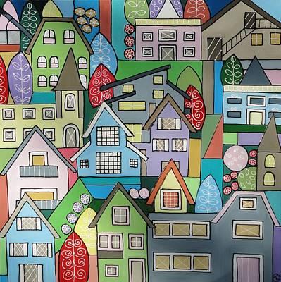 Painting - European Dwellings by Elizabeth Langreiter