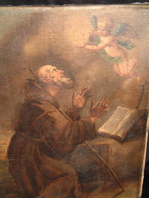 Carita Painting - European Old Master Painting On Canvas Representing St. Francis by Old master