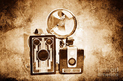 Digital Art - European Travelers Mother And Daughter Cameras Sepia by Andee Design