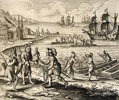 Europeans Trading In Newfoundland, 1612 Art Print by British Library