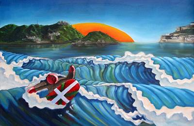 Painting - Euskadi Surfer by Olivier Longuet