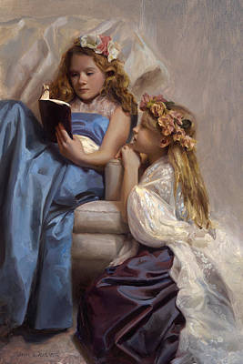 Painting - Victorian Era Portrait Of Two Girls Reading A Book by Karen Whitworth