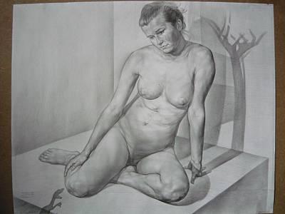 Pals Drawing - Eva. Light And Shadows' Borderline by Laszlo Pal