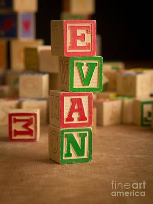Photograph - Evan - Alphabet Blocks by Edward Fielding