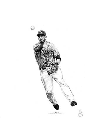 Evan Longoria Drawing - Evan Longoria by Joshua Sooter