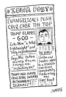 Midwest Drawing - Evangelicals Push Cruz Over The Top by David Sipress