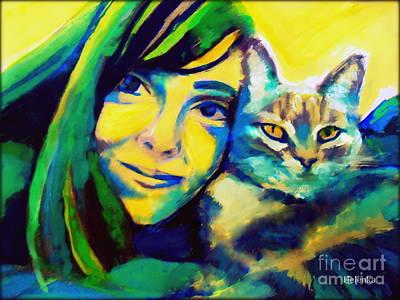 Evangelina And The Cat Original by Helena Wierzbicki