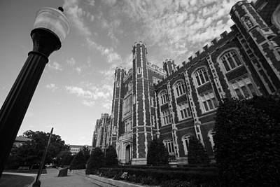 Oklahoma University Photograph - Evans Hall In Black And White by Nathan Hillis