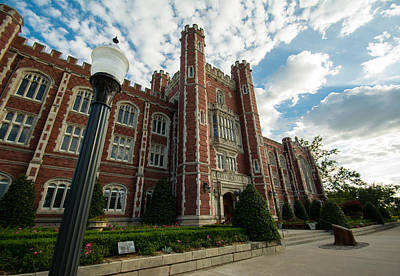 Oklahoma University Photograph - Evans Hall In The Evening by Nathan Hillis