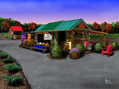 Digital Art - Eva's Farm Market by Patrick Belote