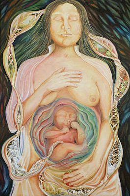 Painting - Eva's Foetus Outcome - Le Devenir Du Foetus D'eve by Therese Rouleau