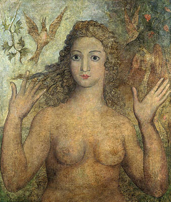Female Nude Drawing - Eve Naming The Birds by William Blake