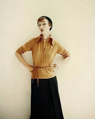 Evelyn Tripp In A Yellow Shirt And Black Skirt Art Print