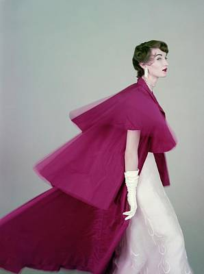 Chiffon Photograph - Evelyn Tripp Wearing A Mainbocher Coat by Richard Rutledge