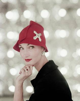 Cloche Photograph - Evelyn Tripp Wearing Harry Winston Jewellery by Karen Radkai
