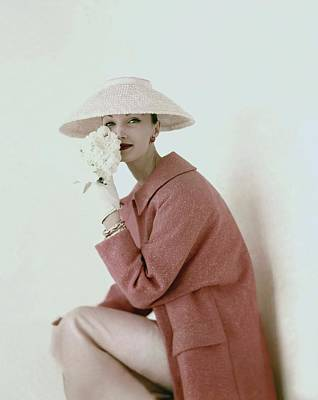 1950s Photograph - Evelyn Tripp Wearing Pink by Karen Radkai