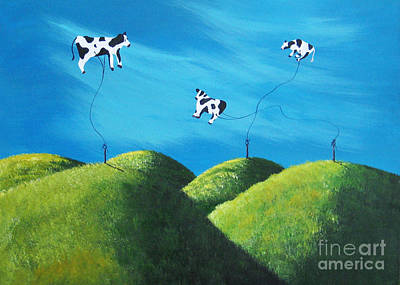 Lowbrow Painting - Even Cows Have Strange Dreams By Shawna Erback Art by Shawna Erback