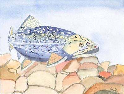 Even Troutbums Get The Blues Art Print by David Crowell
