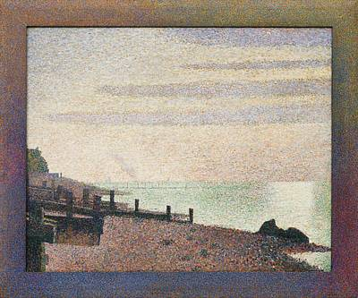 Pointilist Painting - Evening - Honfleur by Georges Seurat