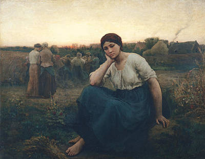 Sadness Photograph - Evening, 1860 Oil On Canvas by Jules Breton