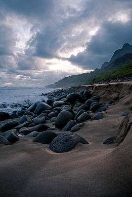 Photograph - Evening Arrives At Kalalau by Tim Newton