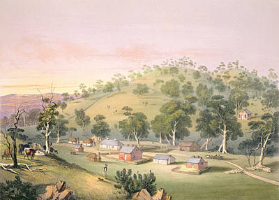 Colony Drawing - Evening At Angaston, South Australia by George French Angas