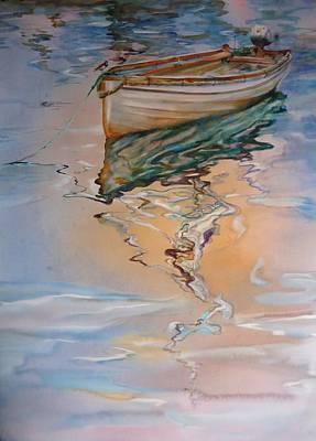 Painting - Evening At Marina Row Boat by Elena Balekha