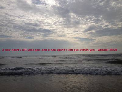 Evening At The Beach With Quote Original by Marian Palucci-Lonzetta