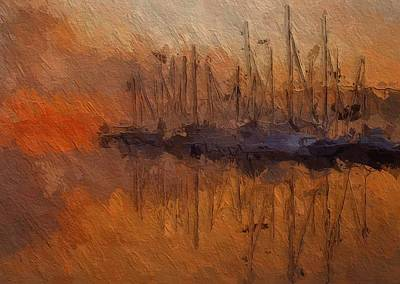 Water Reflections Mixed Media - Evening At The Lake by Steve K