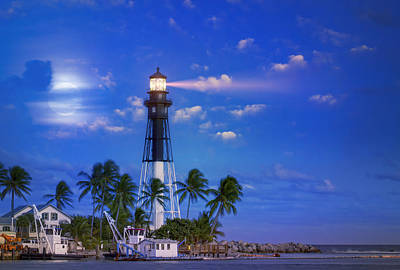 Evening At The Lighthouse Print by Mark Andrew Thomas