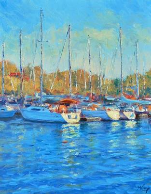 Evening At The Marina Original by Michael Camp