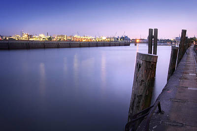 Photograph - Evening At The Port Of Hamburg by Marc Huebner